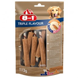 8in1 Triple Flavour Ribs /лакомства за куче с пилешко филе говежда и свинска кожа/-113гр