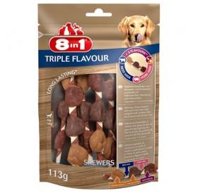 8in1 Triple Flavour Skewers /лакомства за куче с пилешко филе дроб патешки гърди и говежда и свинска кожа/-113гр
