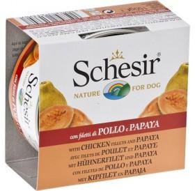 Schesir® Chicken Fillet and Papaya /храна за израснали кучета с пилешки филенца и папая/-150гр