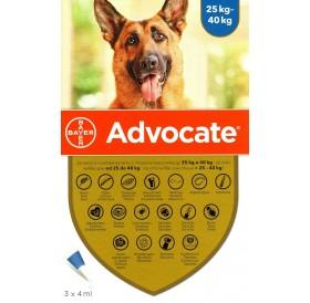 Bayer Advocate Dog 400 Spot-On /Пипети За Широкоспектърна Защита Срещу Вътрешни И Външни Паразити За Кучета От 25 До 40кг/-3бр