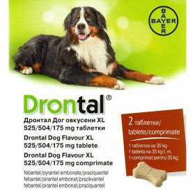 Bayer Drontal XL /Обезпаразитяващи Таблетки За Вътрешни Паразити За Куче (1т=35кг)/-2бр