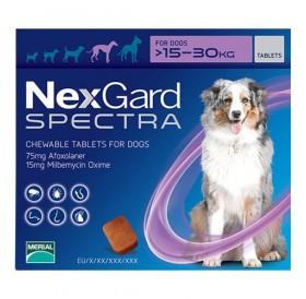 NexGard™ Spectra L /меки дъвчащи обезпаразитяващи таблетки за външни и вътрешни паразити за кучета от 15 до 30кг/-3бр