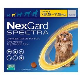 NexGard™ Spectra S /меки дъвчащи обезпаразитяващи таблетки за външни и вътрешни паразити за кучета от 3,5 до 7,5кг/-3бр