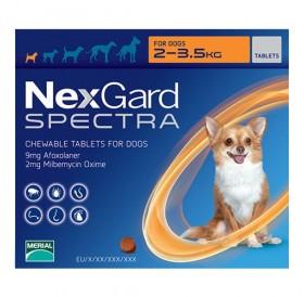NexGard™ Spectra XS /меки дъвчащи обезпаразитяващи таблетки за външни и вътрешни паразити за кучета от 2 до 3,5кг/-3бр