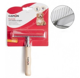 Camon Pet Grooming Rake with Wood Handle /едноредов гребен тип гребло/-10см