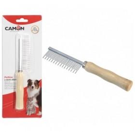 Camon® Alternated Teeth Comb for Moulting Coats /двуредов метален гребен с дървена дръжка/-17,5см