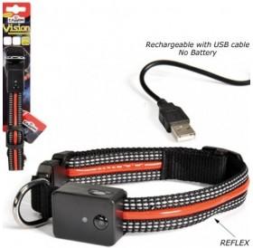 Camon® LED Reflective Collar with USB Charge /USB светещ нашийник за куче/-2х30-40см