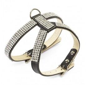 Camon Leather Harness with Rhinestones Black /кожен нагръдник с кристали/