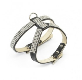 Camon Leather Harness with Rhinestones /кожен нагръдник с кристали/