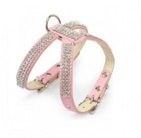 Camon Leather Harness with Rhinestones Pink /кожен нагръдник с кристали/