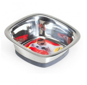 Camon Stainless Steel Bowl Durapet Quadra 420ml /купа от неръждаема стомана с гумирана основа 0,42л/-16х16см