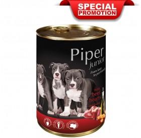 Piper Dog Junior with Beef Hearts and Carrots /храна за подрастващи кученца с говежди сърца и моркови/-24х400гр