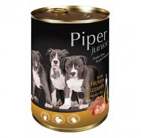Piper Dog Junior with Chicken Gizzards and Brown Rice /храна за подрастващи кученца с пилешки воденички и кафяв ориз/-400гр