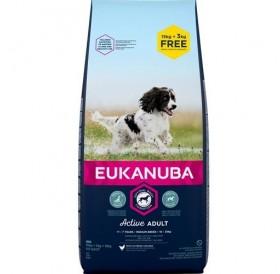 Eukanuba Active Adult Medium Breed /Храна За Израснали Кучета Средни Породи/-15+3кг ПОДАРЪК
