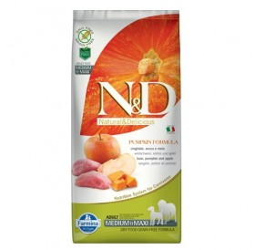 N&D Grain Free Pumpkin Medium&Maxi Adult Boar&Apple /пълноценна храна за израснали кучета средни и едри породи с месо от глиган тиква и ябълка/-12кг