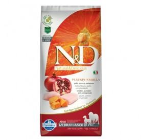 N&D Grain Free Pumpkin Medium&Maxi Adult Chicken&Pomegranate /пълноценна храна за израснали кучета средни и едри породи с пиле тиква и нар/-12кг