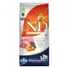 N&D Grain Free Pumpkin Medium&Maxi Adult Lamb&Blueberry /пълноценна храна за израснали кучета средни и едри породи с агнешко тиква и боровинки/-12кг