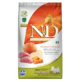 N&D Grain Free Pumpkin Mini Adult Boar&Apple /пълноценна храна за израснали кучета дребни породи с месо от глиган тиква и ябълка/-800гр
