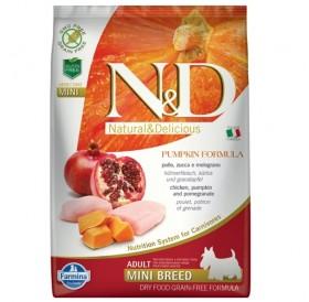 N&D Grain Free Pumpkin Mini Adult Chicken&Pomegranate /пълноценна храна за израснали кучета дребни породи с пиле тиква и нар/-800гр