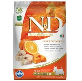 N&D Grain Free Pumpkin Mini Adult Codfish&Orange /пълноценна храна за израснали кучета дребни породи с риба треска тиква и портокал/-800гр