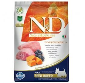 N&D Grain Free Pumpkin Mini Adult Lamb&Blueberry /пълноценна храна за израснали кучета дребни породи с агнешко тиква и боровинки/-2,5кг