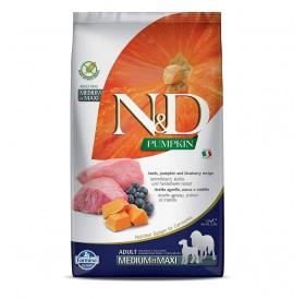 N&D Pumpkin Medium&Maxi Adult Lamb&Blueberry /пълноценна храна за израснали кучета средни и едри породи с агнешко тиква и боровинки/-2,5кг