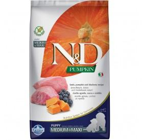 N&D Dog Pumpkin Medium&Maxi Puppy Lamb&Blueberry /Пълноценна Храна За Подрастващи Кученца И Бременни Или Кърмещи Кучета Средни И Едри Породи С Агнешко Тиква И Боровинки/-2,5кг