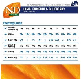 N&D Grain Free Pumpkin Adult Lamb&Blueberry Wet Food /пълноценна храна за кучета с агнешко тиква и боровинки/-285гр