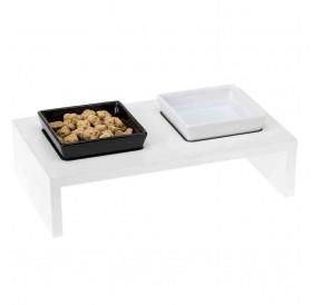 Ferplast Maki 01 /комплект керамични купи за хранене с дървена поставка 2x0,5л/-40x21x13см