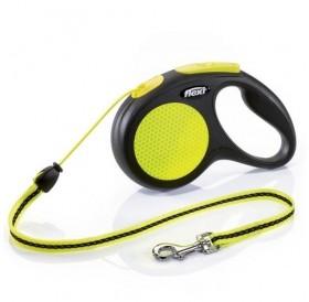 Flexi NEON Small Cord /автоматичен повод за кучета до 12кг въже/-5м