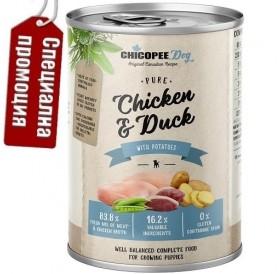 Chicopee Dog Junior Chicken&Duck /храна за подрастващи кученца с пилешко и патешко месо/-6x400гр
