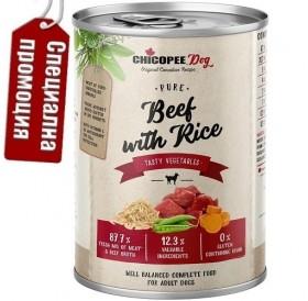 Chicopee Dog Adult Beef with Rice /храна за израснали кучета с говеждо месо и ориз/-6x400гр