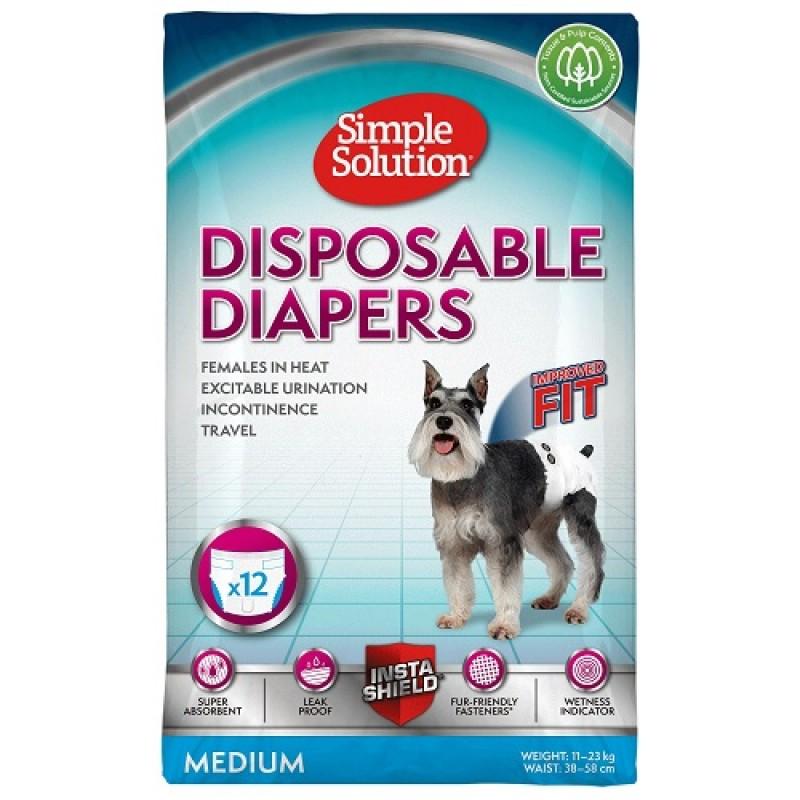 Simple Solution® Disposable Female Dog Diapers Medium /памперси за женски кучета/-12бр