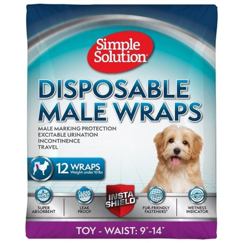 Simple Solution® Disposable Male Dog Diapers XSmall /памперс за мъжки кучета/-12бр