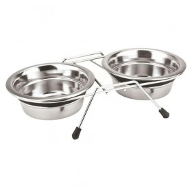 Nobby Double Bowl Stainless Steel Silent Diner 2x0,4l /поставка с две метални купи Ø13см/-2x400мл