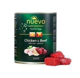 Nuevo Dog Junior Chicken&Beef with Rice&Calcium /храна за подрастващи кученца с пилешко и телешко месо/-400гр