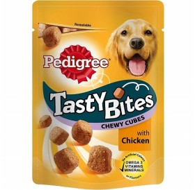 Pedigree Tasty Bites Chewy Cubes With Chicken /Лакомства За Израснали Кучета Дъвчащи Кубчета С Пилешко Месо/-130гр