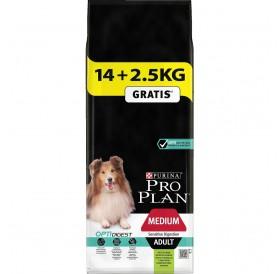 Pro Plan Medium Adult Sensitive Digestion With Optidigest /Храна За Израснали Кучета Средни Породи С Чувствителна Храносмилателна Система/-14+2,5кг ГРАТИС