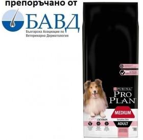 Pro Plan Medium Adult Sensitive Skin with Optiderma /храна за израснали кучета средни породи с проблемна козина/-14кг