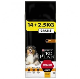 Pro Plan Medium Adult With Optibalance /Храна За Израснали Кучета Средни Породи/-14+2,5кг ГРАТИС