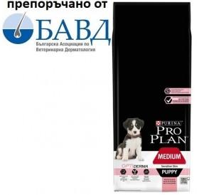 Purina® Pro Plan® Medium Puppy Sensitive Skin with Optiderma /храна за подрастващи кученца средни породи с проблемна козина/-12кг