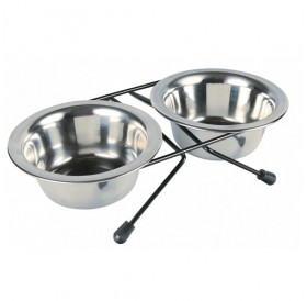 Trixie Bowl-Stand with 2 Bowls /поставка с две метални купи Ø10см/-2x200мл