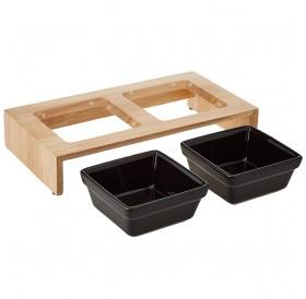 Trixie Bowl Set Ceramic/Wood /Комплект Керамични Купи За Хранене С Дървена Поставка 2x200мл/-28x15x5см